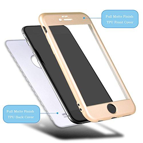 """HICASER iPhone 7 Plus 360 Grad Hülle + Panzerglas, Komplettschutz Vorder und Rückseiten Schutz Schale Ganzkörper-Koffer Soft TPU Schutzhülle für iPhone 7 Plus 5.5"""" Schwarz Gold"""