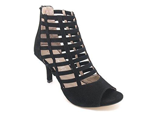 Carmens Padova sandali donna con listelli, tomaia camoscio nero e suola gomma