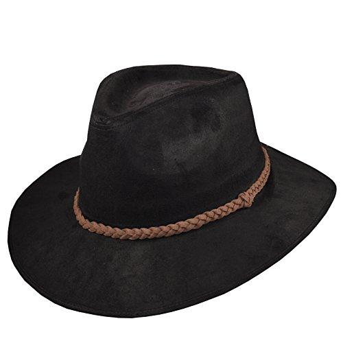 Sommerhut Damen Herren Cowboyhut Stoffhut geflochtenes braunes Hutband 047804 (M / 56 cm - 58 cm, Schwarz)