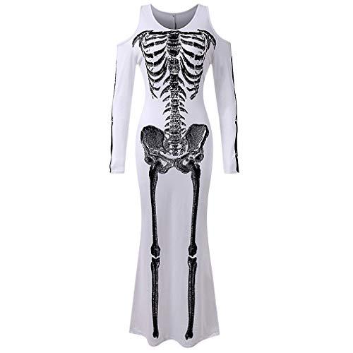 Kostüm Menschliches Ein - Damen Halloween Cosplay Kostüm Mode Kleider Rundhals Menschliches Skelett Muster Festival Langarmshirts Schmal geschnittene Pullover Karneval Party Wear Weiß S