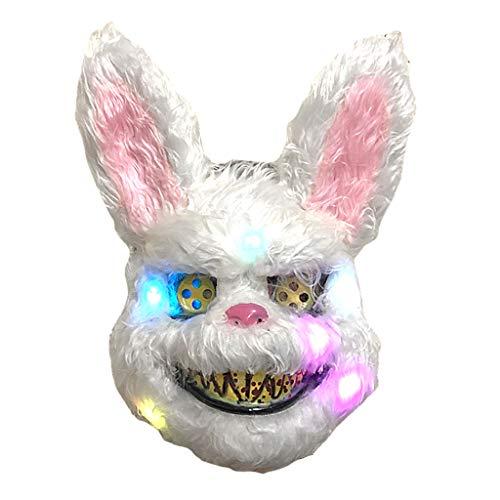 Xurgm Halloween Plüsch Bloody Bunny Rabbit Bear Gruselige Gruselmaske Horror Kostüm Cosplay Mit LED Licht (Gruselig Bunny Kostüm)