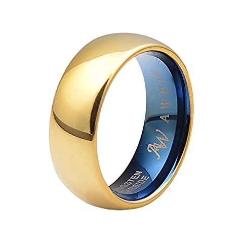 SWEETV 8mm Gold Plated Tungsten Ring - Highly Polished Comfort Fit Wedding Band Men's Jewelry, Size