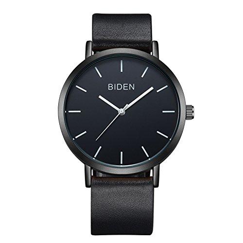 Montre, Mens Women Watch, Imperméable à l'eau Simple Casual Analogique Quartz Cuir Band Dress Wrist Watch (Noir)