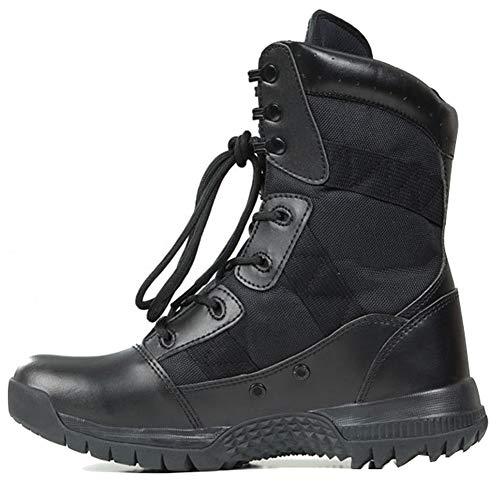 MYXUAA Stivali da combattimento militari e tattici da uomo Stringate Casual Scarpe da caccia da trekking all'aria aperta Addestramento della polizia Stivaletti di Oxford-black-EU39/US7/UK6