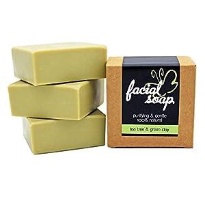 Gesichtsseife mit Teebaum Öl & feiner Tonerde | Facial Soap, Gesichtsreiniger, unreine Haut, grüne Tonerde