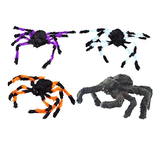 LIOOBO 4 STÜCKE 50 cm Halloween Atmosphäre Requisiten Spinne Plüschtier (Zufällige Farbe)