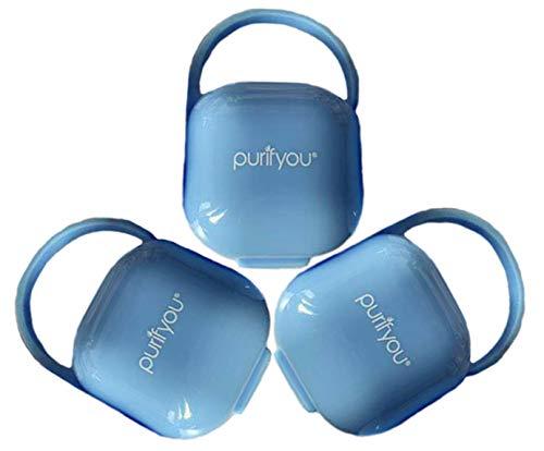 purifyou PurePouch BPA Soother Pod, funda protectora de pezón y estuche de chupete, juego de 3, con saco de malla libre (juego de 3, azul claro)