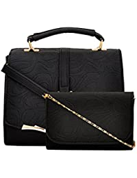 Mark & Keith Black Combo Handbag(MBG 0517 BK)