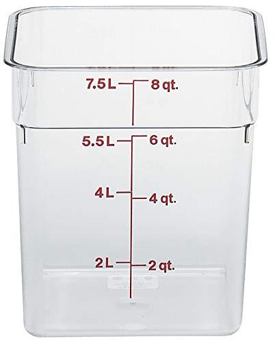 Cambro 8sfscw camsquare Food Container 8QT. 8-3/8x 8-3/8x 9-1/8Klar, 6ct Camsquare Container