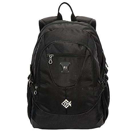 Swisswin Rucksack Laptop 15 zoll Herren Damen Kinder Schule Freizeit Daypack Backpack 17 zoll Laptoprucksack Sportrucksack Schulrucksack Reisetasche Schwarz RS8303sz