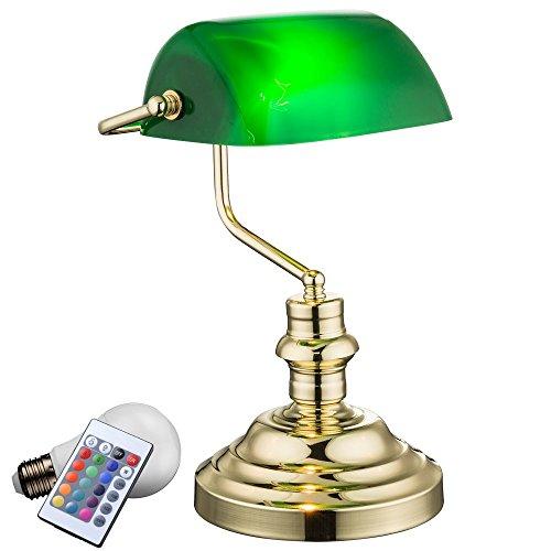 Tisch Leuchte Fernbedienung Banker Lampe grün Retro Beleuchtung dimmbar im Set inklusive RGB LED Leuchtmittel