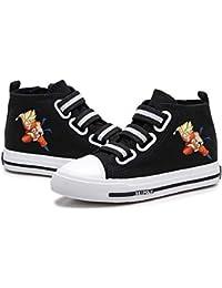 Nqdkfjeffr Dragon Ball Zapatos Llena Superior de Lona High-Top Zapatos de los Zapatos de los niños de Peso Ligero no estirado Pies Zapatos de la Zapatilla niños y niñas