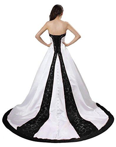 APXPF Damen Schatz Hals Stickerei Kathedrale Zughochzeitskleid 18 Plus Weiß und Schwarz