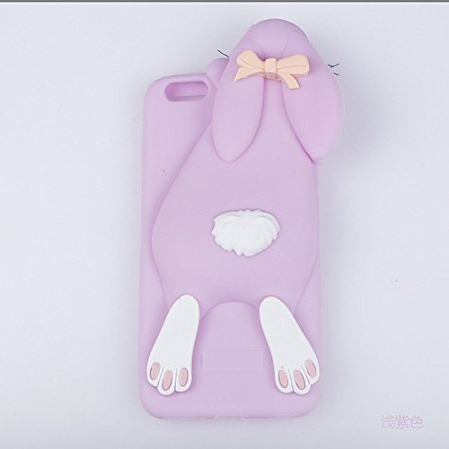 Coque Pour iPhone SE, iNenk® TPU doux cas Papa lapin Mobile Shell dessin animé mignon lapin animaux téléphone couverture manchon protecteur pour fille-gris Purple