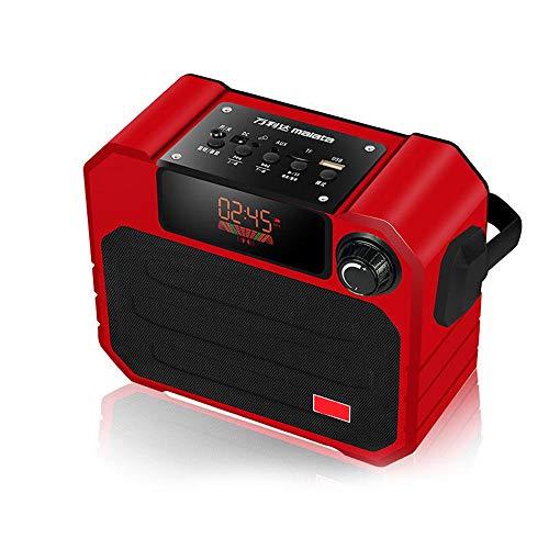 Lautsprecher Bewegliche drahtlose Bluetooth-Lautsprecher TF-Radio FM-Radio-Aux-Stereo-Bass-Lautsprecher mit Mic Orange Grün Rot Schwarz Bluetooth Lautsprecher (Farbe : Red, Size : 195x157x80mm)