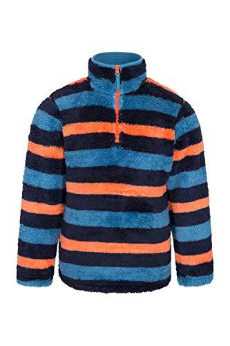 Mountain Warehouse Yeti Kinder Gestreifter Fleece Pullover Jacke Oberteil Winter warm Outdoor Dunkelblau 164 (13 Jahre)