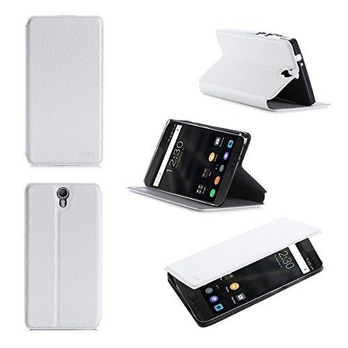 Lenovo ZUK Z1 2015 4G/LTE Dual Sim Tasche Leder Hülle weiß Cover mit Stand - Zubehör Etui Lenovo ZUK Z1 Flip Case Schutzhülle (PU Leder, Handytasche Weiss white) - XEPTIO accessories