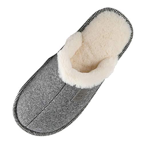 HDUFGJ Herren Damen Hausschuhe Winter Pantoffeln Wärme Home Hausschuhe Streifen Slippers Slippers Supersoft Clogs & Pantoletten Pumps Sandalen & Slides Stiefel40 EU(Dunkel blau) 42 EU(Grau)