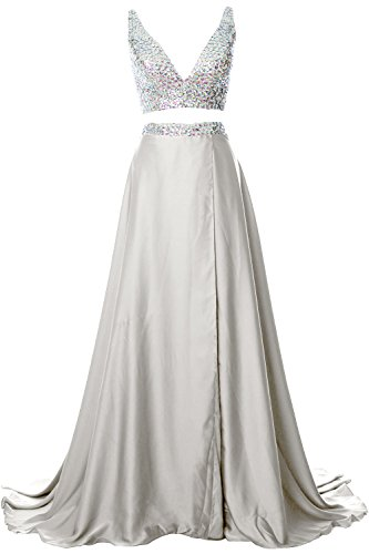 MACloth Gorgeous 2 Piece Long Prom Dress Straps V Neck Formal Party Evening Gown Ivoire