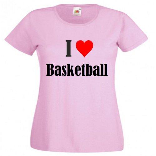 """T-Shirt """"I Love Basketball"""" für Damen Herren und Kinder in Pink Pink"""