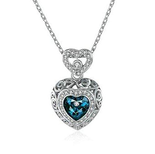 String-kronleuchter Schatten (amdxd Jewelry Silber vergoldet Anhänger Ketten für Frauen Silber Herz Form Anhänger)