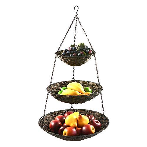 maDDma ® Hänge-Etagere 3 Etagen Hängekorb Hängeampel Obstkorb Gemüse-Ampel Korb z. Hängen, Farbe:Brauntöne