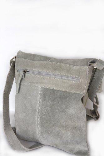 Cuir sac à bandoulière Messenger daim mod. 2030-p gris clair