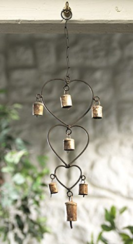 Wind chime with Hearts and Bells Recycled Iron Fair Trade by Namaste -