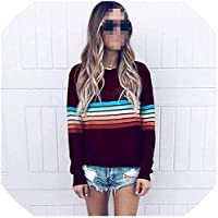 betterluse Striped Print Long Sleeve Knitted Pullovers Jumper Casual Winter Sweaters-Red-Small
