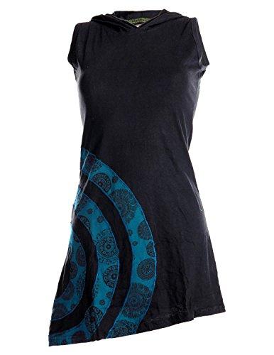 Vishes - Alternative Bekleidung – Ärmelloses Minikleid aus Baumwolle mit Zipfelkapuze und konzentrischen Kreisen schwarz-dunkeltürkis 36/38 (Kreis Ärmelloses)