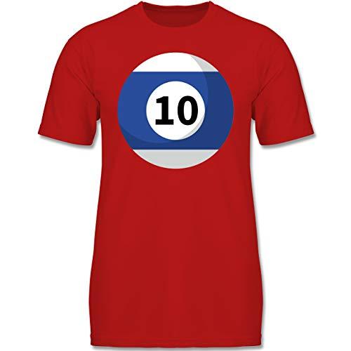 Karneval & Fasching Kinder - Billardkugel 10 Kostüm - 164 (14-15 Jahre) - Rot - F130K - Jungen Kinder T-Shirt