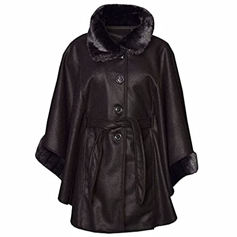 New Women's Ladies Faux Fur Trim Hooded Poncho Cape Coat