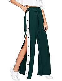 7b09c25dd3 Hibote Donna Pantaloni A Vita Alta, Elegante Gamba Larga Pantaloni Lunghi  con Bottoni Comodi Pantaloni