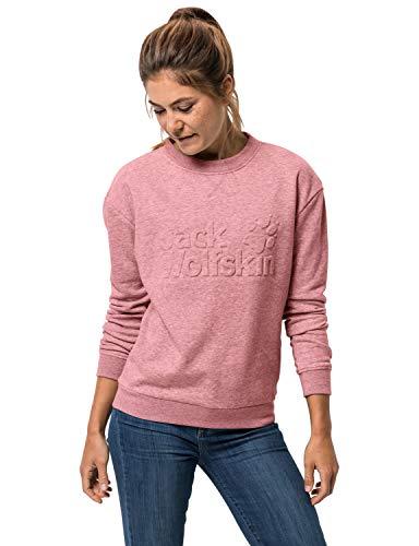 Jack Wolfskin Damen Logo Sweatshirt Pullover, Rose Quartz, M