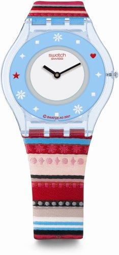Swatch SFN118 - Orologio da polso da donna, cinturino in pelle multicolore