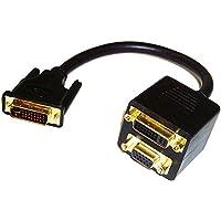 Cablematic - Cable duplicador pasivo de 1 DVI a 1 DVI y 1 VGA