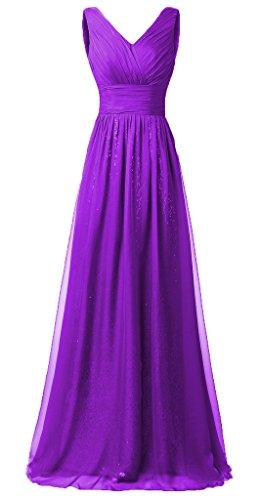 Eudolah Robe de soirée longue pailletée col V en mousseline et sequin Femme Violet