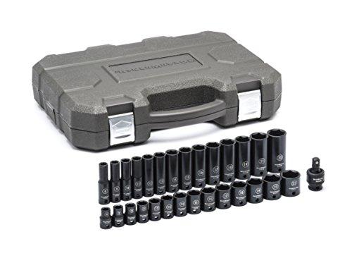 GearWrench 84925N 29Pc. 3/20,3cm Antrieb 6Point Standard & Tiefe Schlag Metrisches Socket Set, schwarz