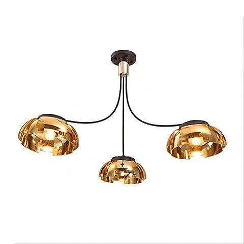 Postmodern Creative Chandelier Black Gold Geocentric Energy Hemisphere Lampshade Plating for Living Room Bedroom Restaurant 3 -Light