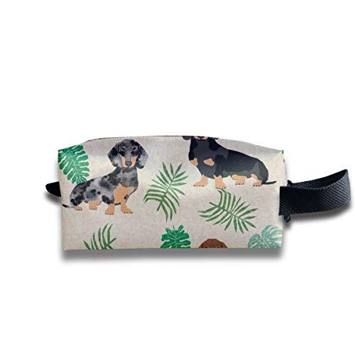 tera Blätter Hunderasse Stoff Tan_151 Tragbare Reise Make-Up Kosmetiktaschen Organizer Multifunktions Fall Taschen für Unisex ()