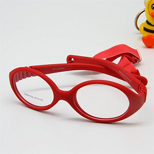 EnzoDate Flexible No Schraube Mädchen Brillen Größe 41/15 mit Kordel, jungen Gläser & Gurt, Kinder Brille, Brille biegsamen Safe Baby (rot)