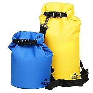 The Friendly Swede Sacs Imperméables en PVC 500D pour Activités de Plein Air et Sports Aquatiques (2 Pièces) (Bleu+Jaune/5L + 10 L) - GARANTIE A VIE