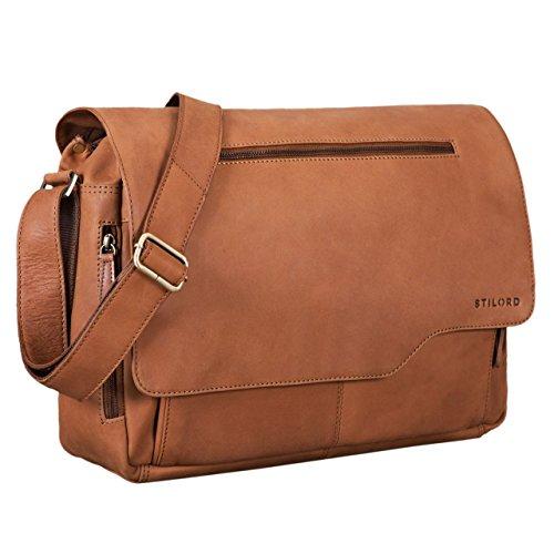 STILORD 'Marvin' Ledertasche Umhängetasche Modernes Vintage Design 15.6 Zoll Laptoptasche große Unitasche College Bag echtes Leder, Farbe:Sattel - braun -