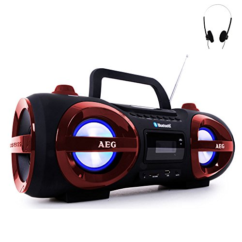 Stereoanlage Ghettoblaster CD MP3 Player Bluetooth USB SD AEG rot + Kopfhörer