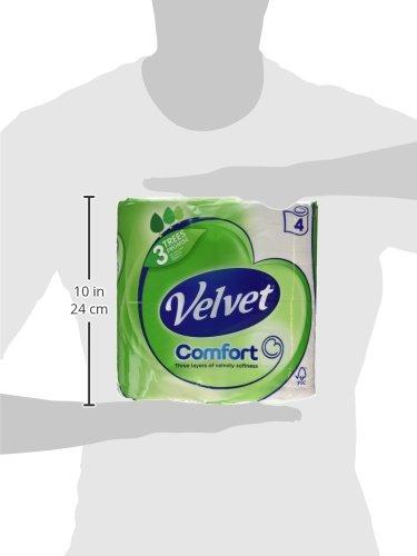 Velvet White Toilet Roll Tissue Paper- 40 Rolls (Pack of 10 X 4)