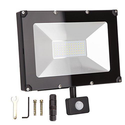ALOTOA 50W PIRLed Proiettori, Bianco Freddo 6000K 5000lm, 250W Equivalente Alogeno Sensore di Movimento Fari LED, IP65 Impermeabile Per Spotlight Orientato all'esterno