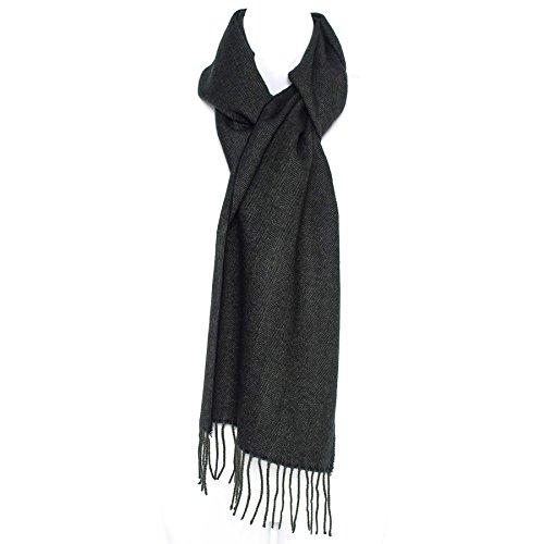 Luxus Wollmischung Herren Unisex Winter Schal mit Fischgrätmuster in Charcoal Grey (Mit Fischgrätmuster Wolle)