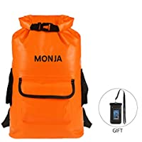 Monja Premium Dry Bag 25L Waterproof Backpack Adjustable Shoulder Strap - Rusksack Rainning on Beach Rainy Day Streamlet Boating Swimming Kayaking Camping Fishing Cycling