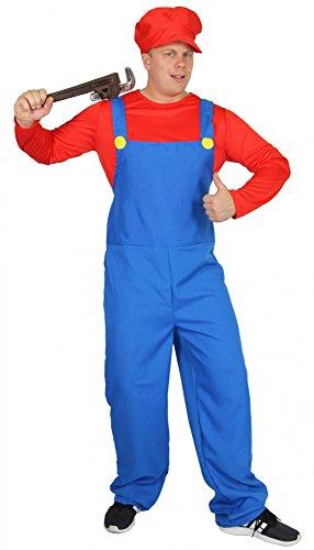 Foxxeo 40251 I Super Klempner Kostüm für Herren Comic Handwerker Klempner rot blau 80er Jahre Gr. M-XXL, Größe:M (Blaue Halloween-kostüme)