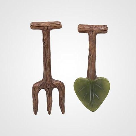 Miniature Mondo Garden Tools decorazioni a forma di foglia, colore: marrone (Confezione da 2)